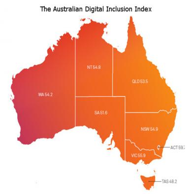 Map of digital inclusion index state results